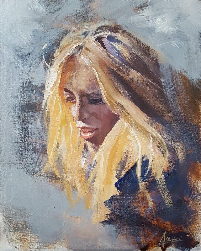 Oljemålning Ung kvinna, Anders Olsson