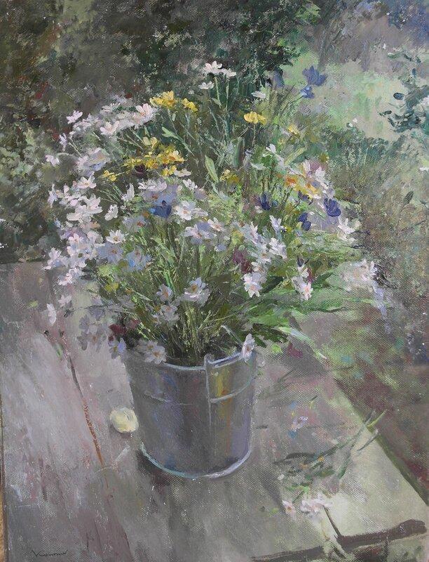 Oljemålning Seven kinds of flowers, Iurii Kononov