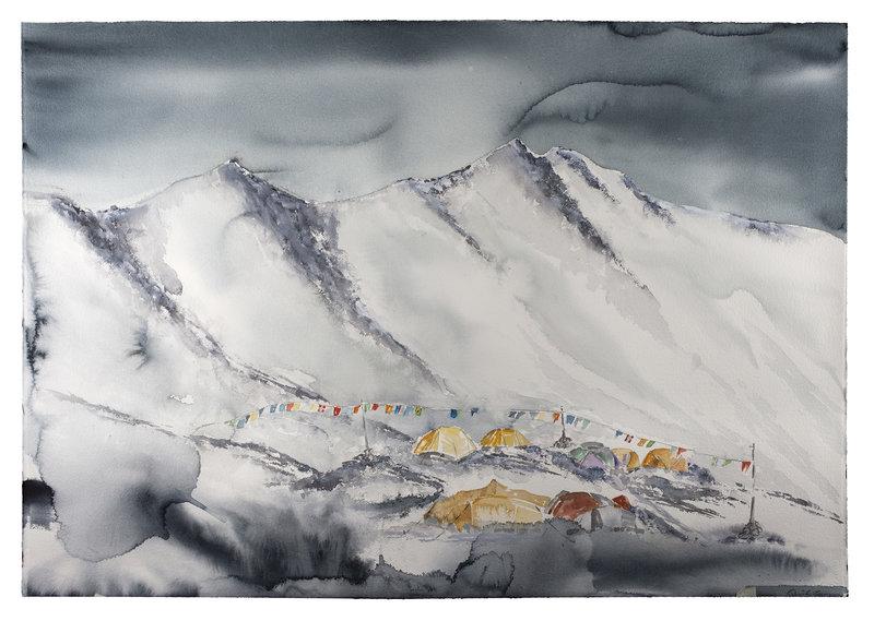 Akvarell Everest base camp, Daniel Zausnig