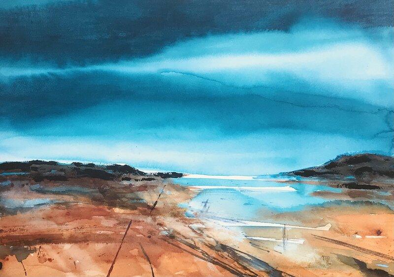 Akvarell Turkos horisont, Margareta Palm