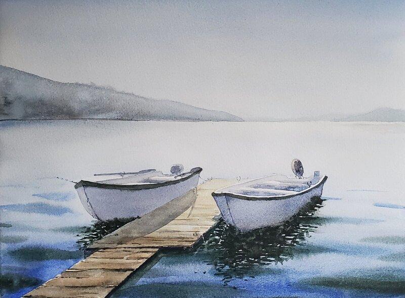 Akvarell Kultsjön, Sandra Sternad Fackel