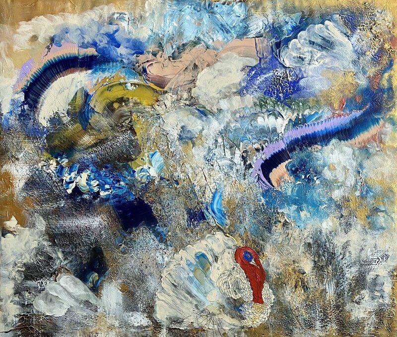 Akrylmålning Fjädrar, Valentina Campodonico
