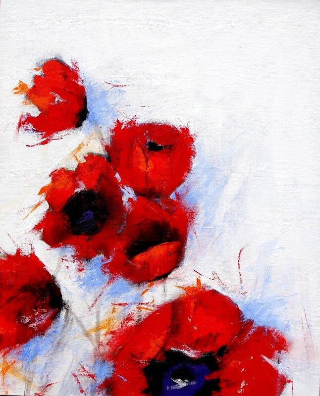 Akrylmålning Utslagna, Eva Friskman