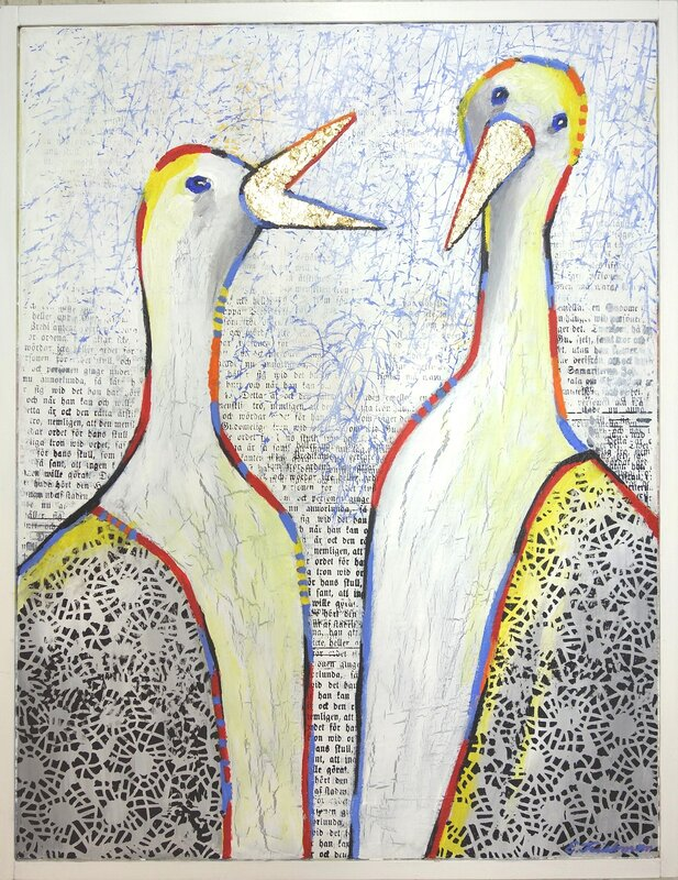 Akrylmålning Flirt, Eva Friskman