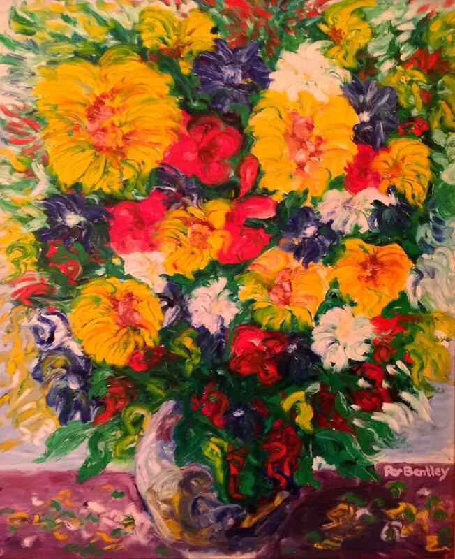 Oljemålning Blommor i Vas, Per Bentley