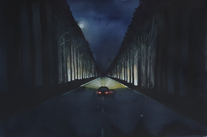 Akvarell Genom nattten, Isak Hellström