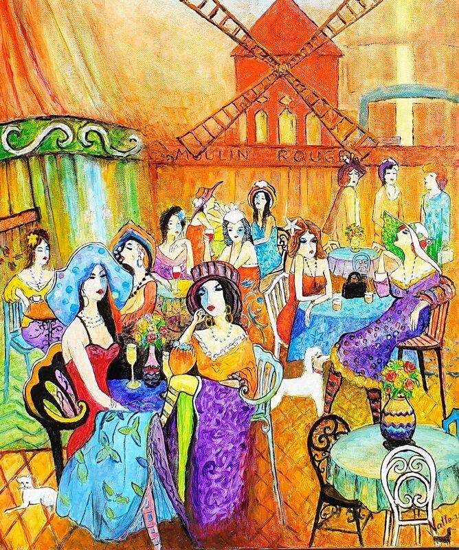 Oljemålning Les Parisiennes 2 - Hommage à Isaac Maimon, Natale Orlich