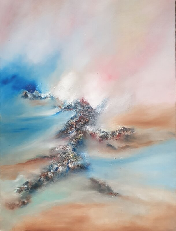 Oljemålning Buscando ilusiones perdidas, Patricia Zuniga