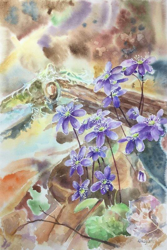 Akvarell En blåsippefamilj, Svitlana Vasylets