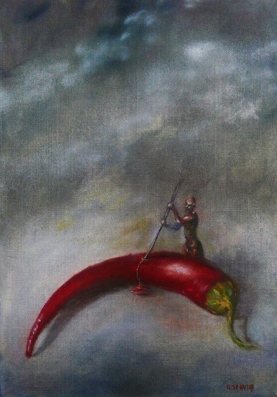 Oljemålning Död Chili, Ilse Hviid