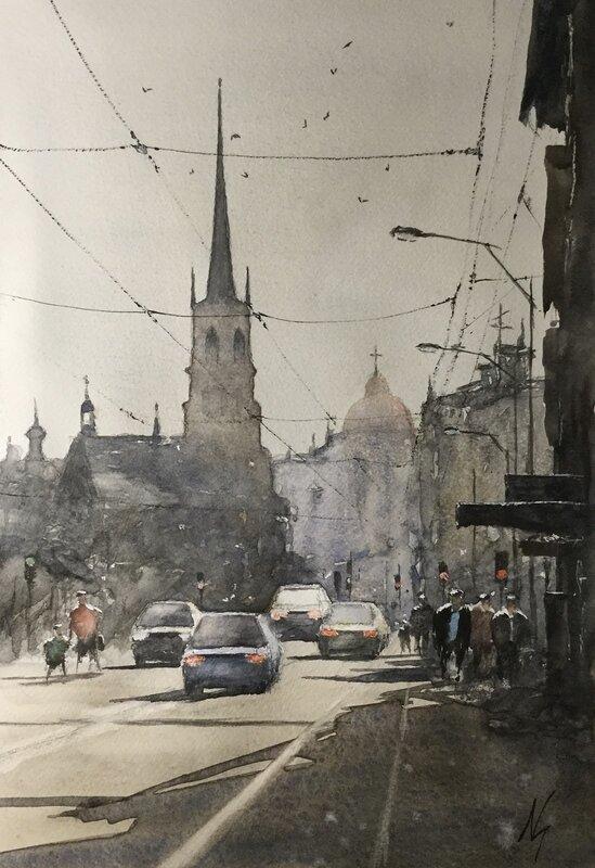 Akvarell Motljus Riddarholmskyrkan, Niklas Gustafsson