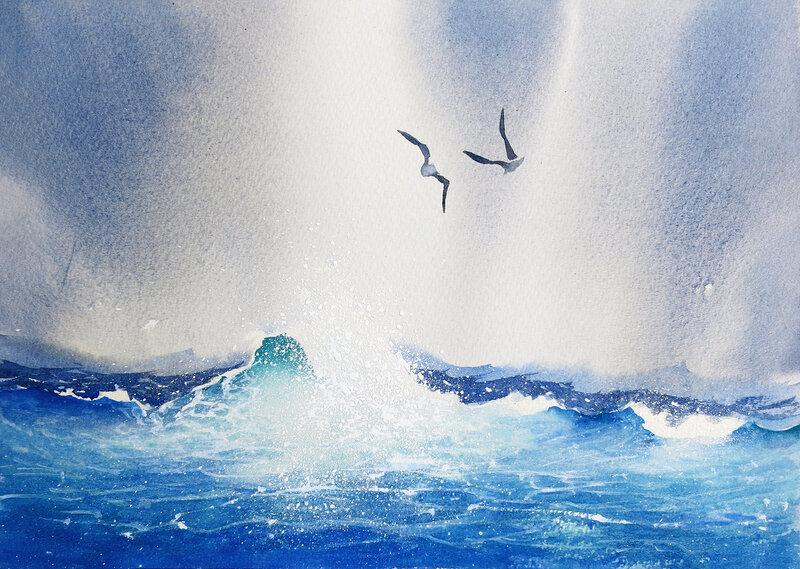 Akvarell Två måsar, Daniel Luther