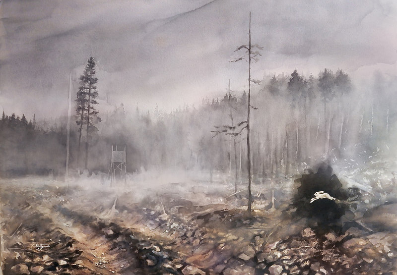 Akvarell Springer genom mörkret, Adam Stolterman
