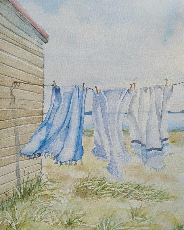 Akvarell Tvättdag, Mia Älegård