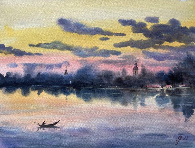 Akvarell Kväll vid ån, Tanya Lundmark