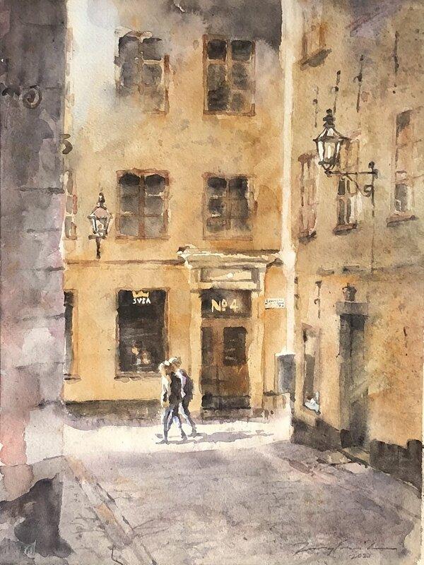 Akvarell Två på väg, Jony Eriksson