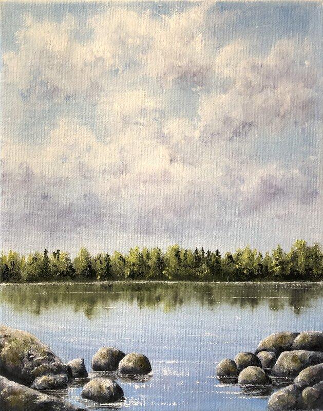 Oljemålning Stenar vid sjökanten, Helen Boreson Holmberg