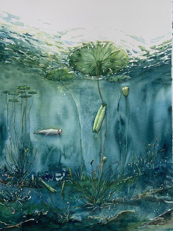 Akvarell Under ytan - varsamt, Katarina Thomassen