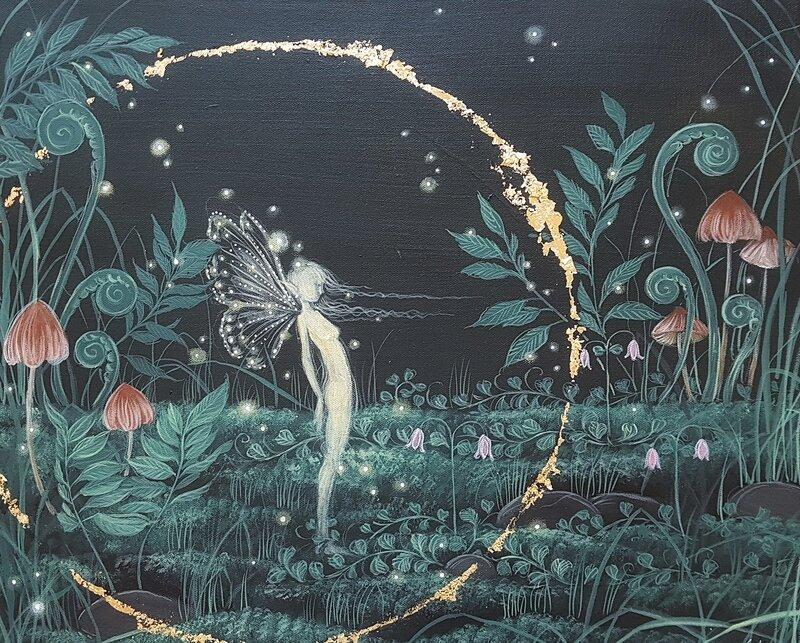 Akrylmålning Skogsmagi, Anna Komstadius