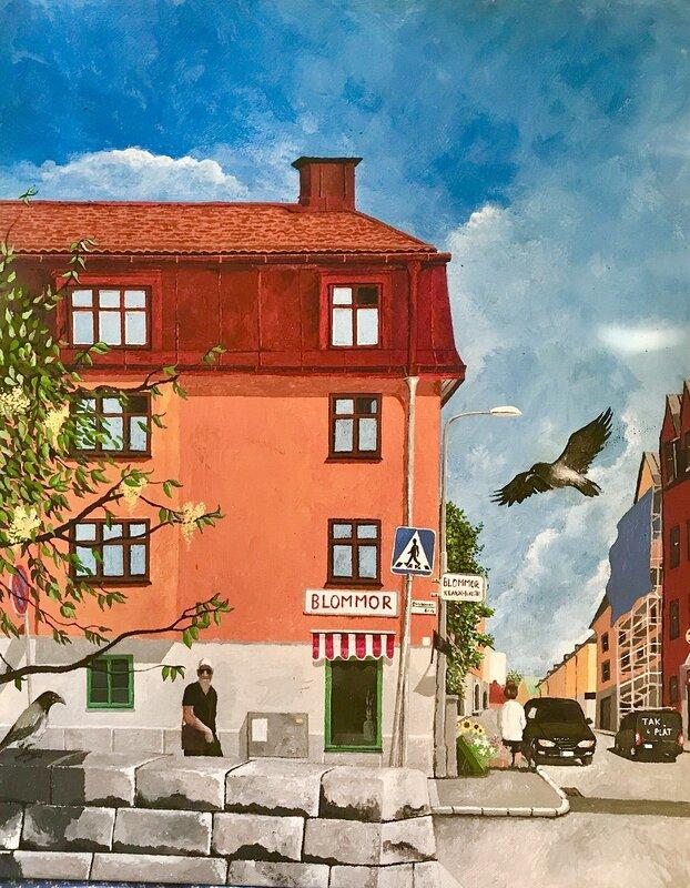 Akrylmålning Oktobergatan i Midsommarkransen, Börje Ahlström