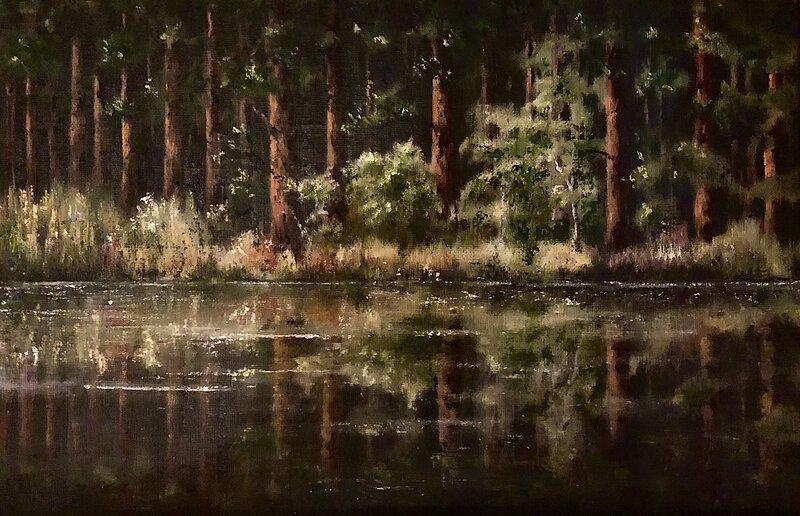 Oljemålning Spegelblankt, Helen Boreson Holmberg