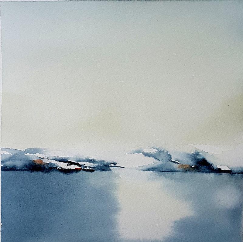 Akvarell Fjällsjö, Nina Laestander