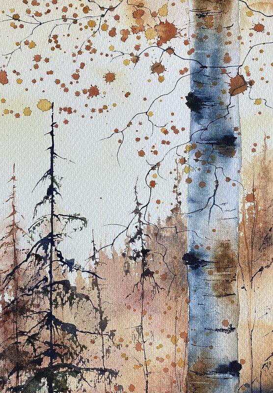 Akvarell Golden Fall, Lynn Hofmann