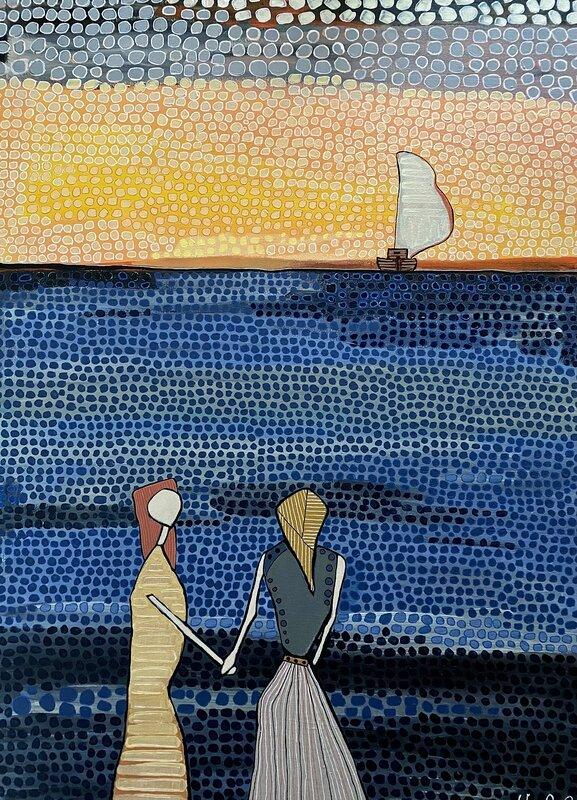 Akrylmålning Systrar, Vivianne Otsa