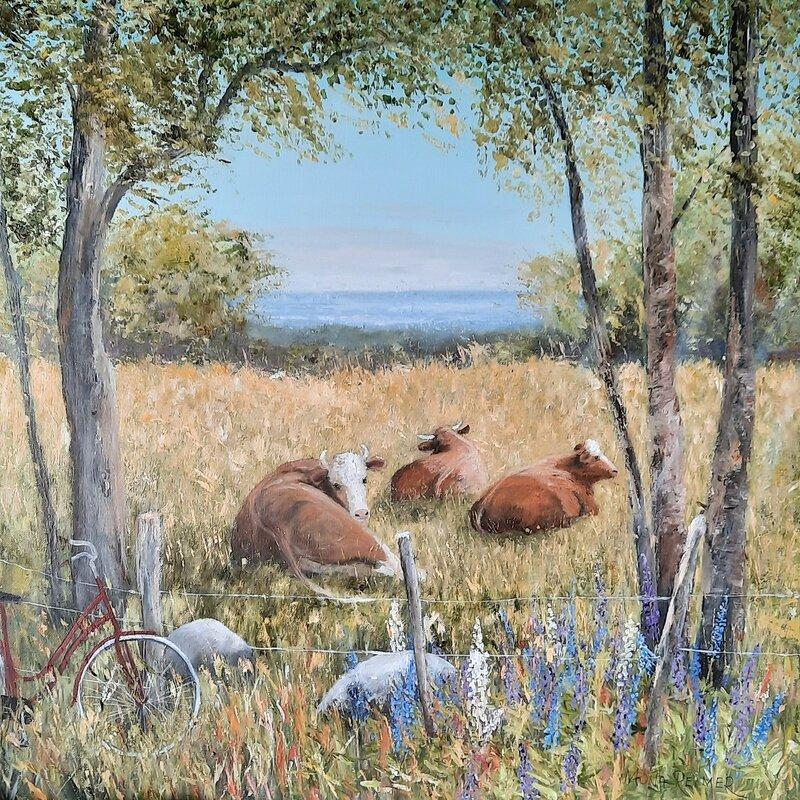 Akrylmålning Här ligger vi och har det gött., Mona Reimer