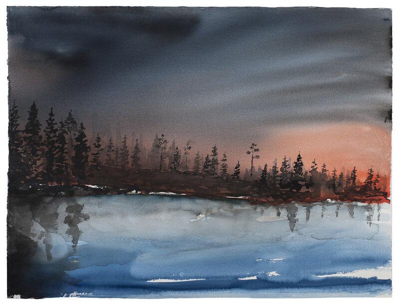 Akvarell Granparadis på kvällen, Daniel Zausnig