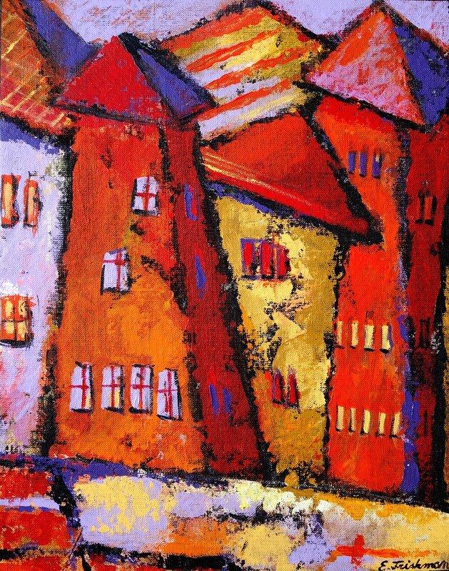 Akrylmålning Byn, Eva Friskman