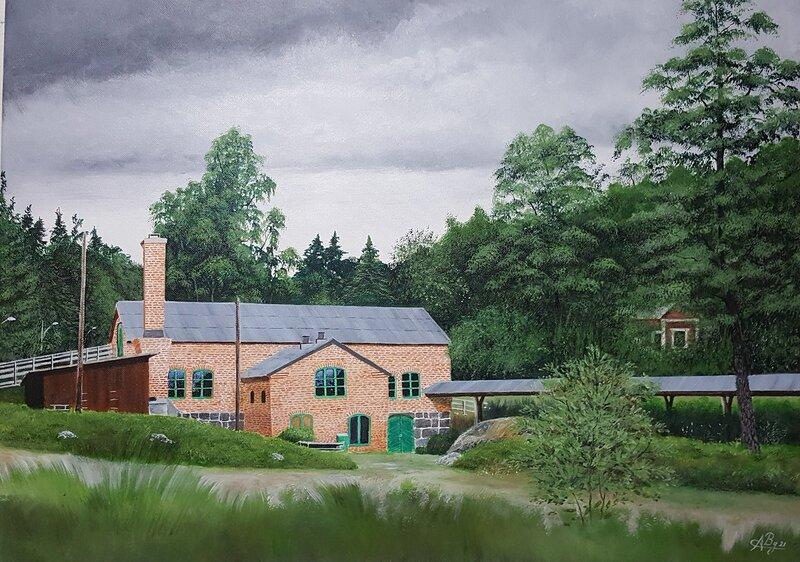 Akrylmålning Kvarnvikens Kvarn, Alicia Bremberg