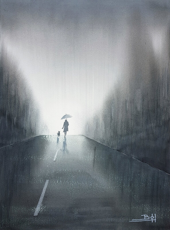 Akvarell Promenad, Bo Hoflin