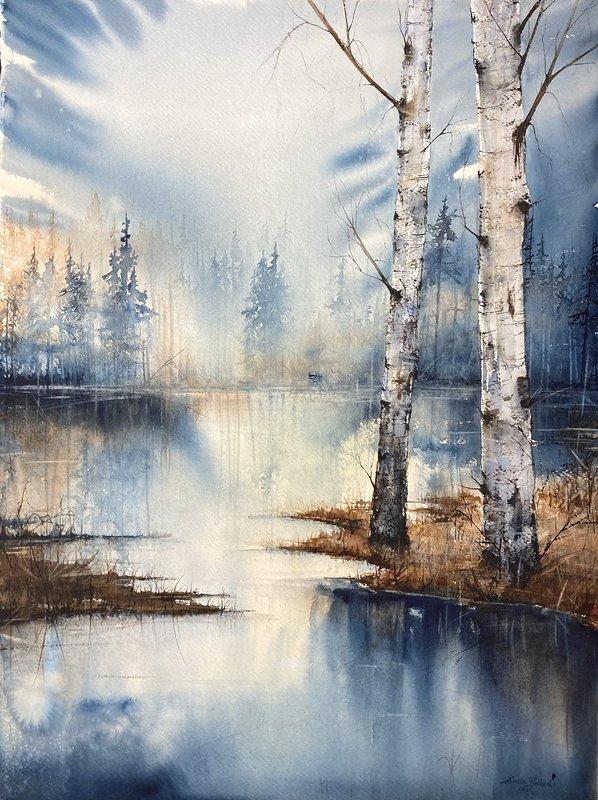 Akvarell Spegelblankt vatten, Emelie Klockarås
