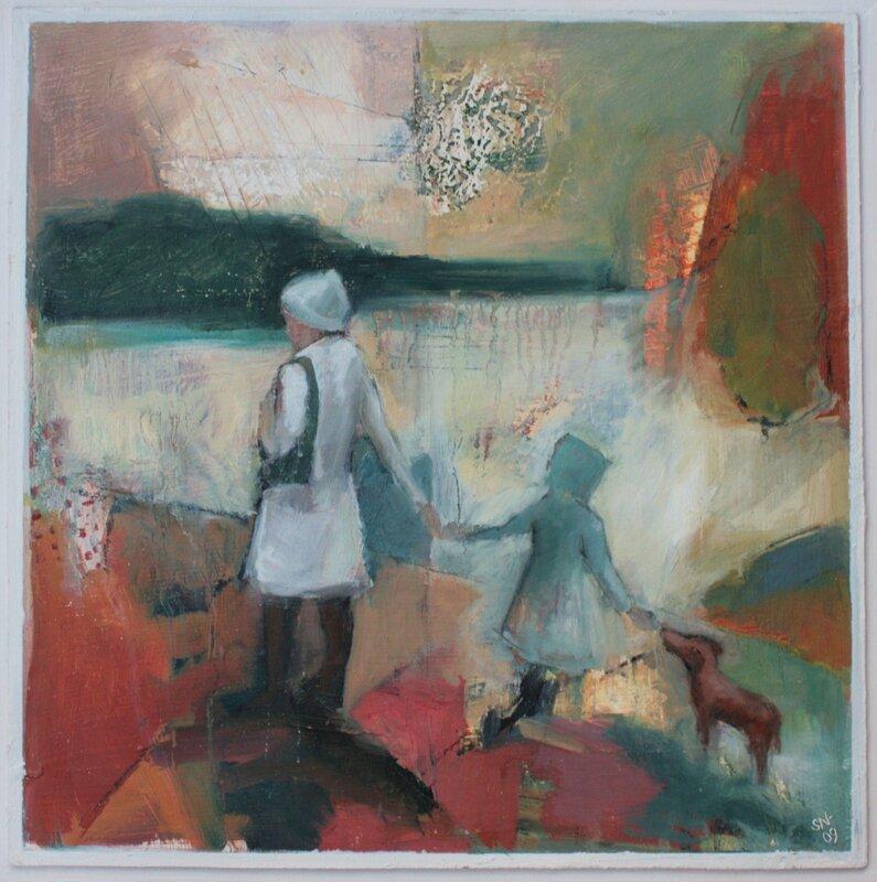 Oljemålning Tre på promenad, Sofia Norberg