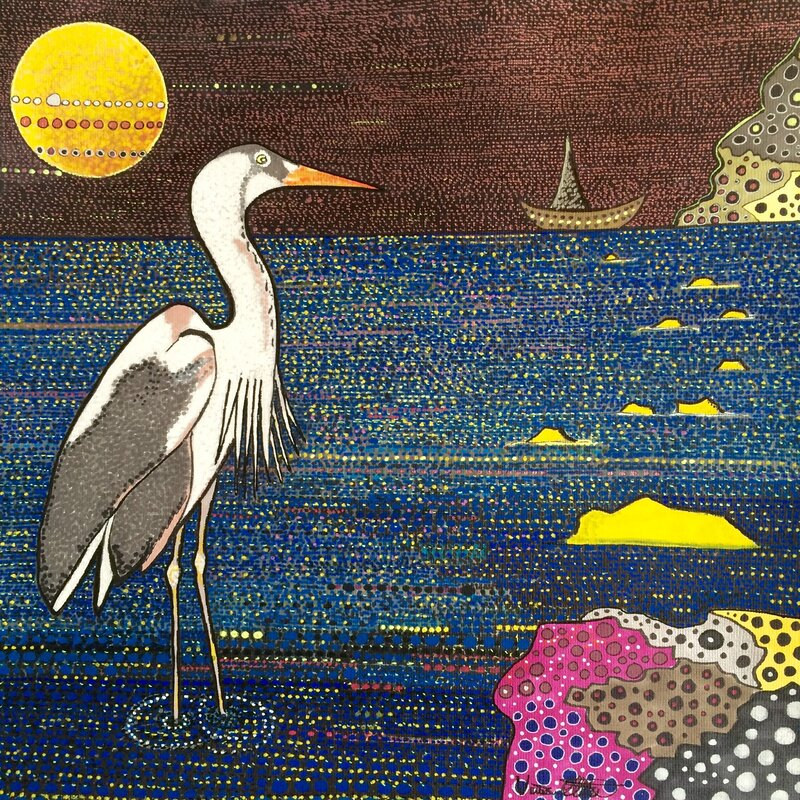 Heron enjoying midnight
