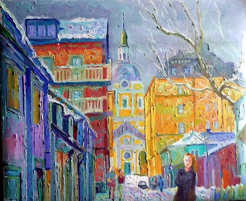 Katarina kyrka vinter Oljemålning