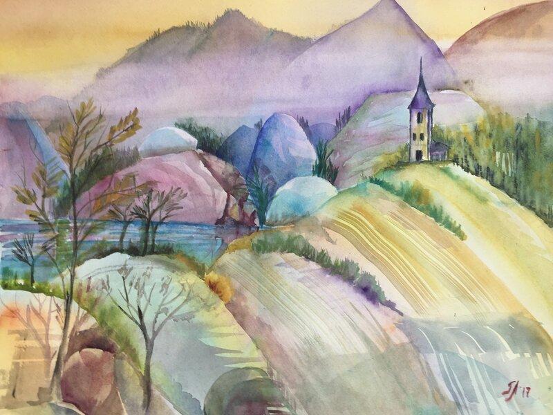 Berglandskap med kyrka