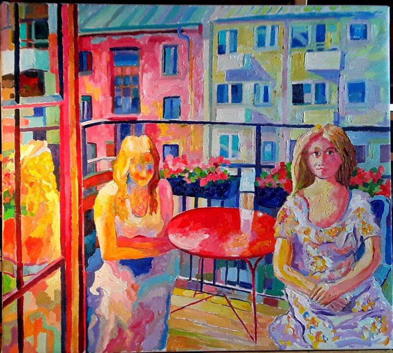 Balkong med två kvinnor Oljemålning
