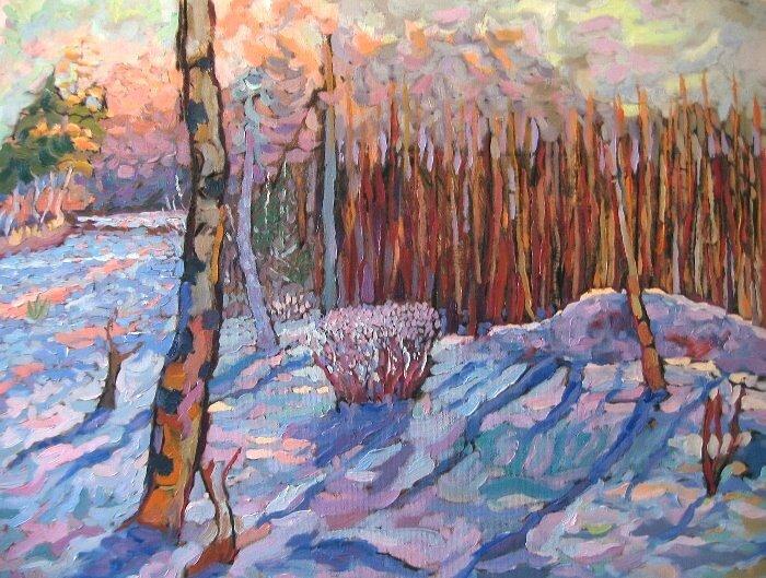 Snölandskap Oljemålning