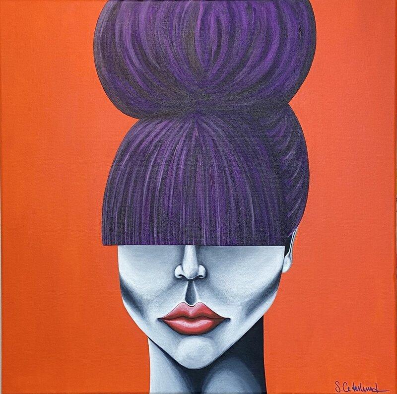 Akrylmålning Miss Purple, Susanne Cederlund