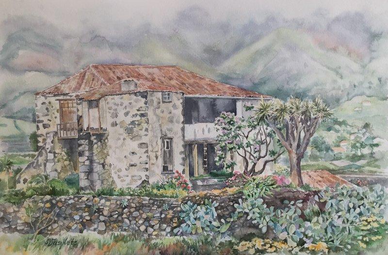 Ett gammalt hus på Kanarieöarna