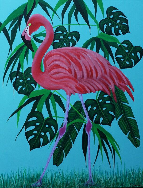 Akrylmålning Flamingo in the jungle, Susanne Cederlund