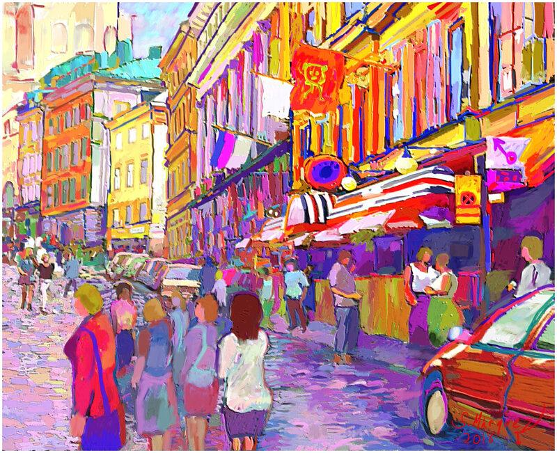 Folkliv i Gamla Stan   Digital målning