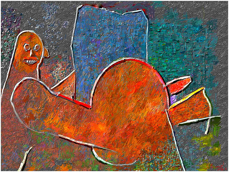 Gravid androgyn figur framför spegel  Digital målning