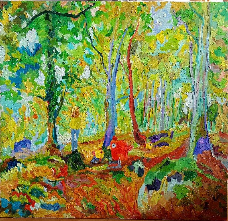 Oljemålning Figurer i skogen Oljemålning, Sebastian Marquez