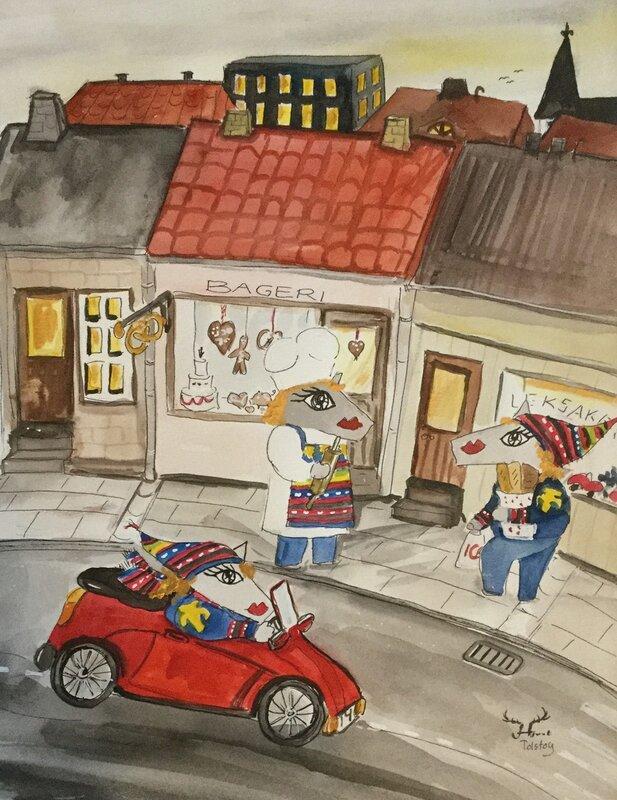 Akvarell En sockerbagare här bor i staden, Catarina Hjort Tolstoy