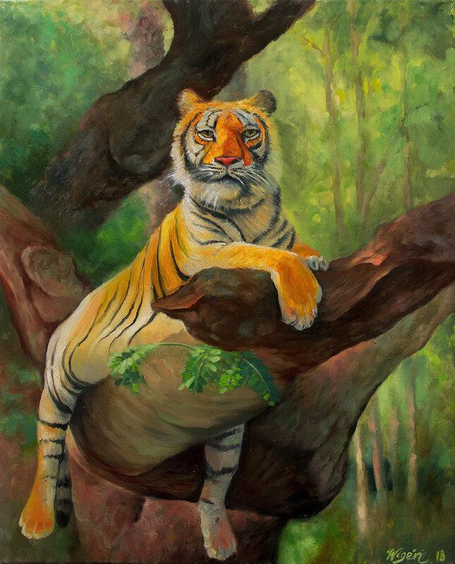 Oljemålning Tigress, Mikael Wigen
