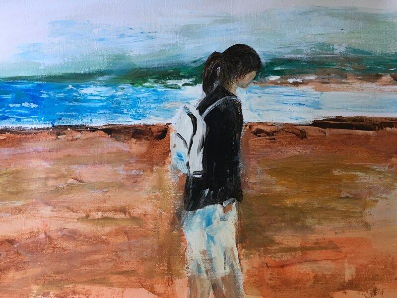 Ensam på stranden